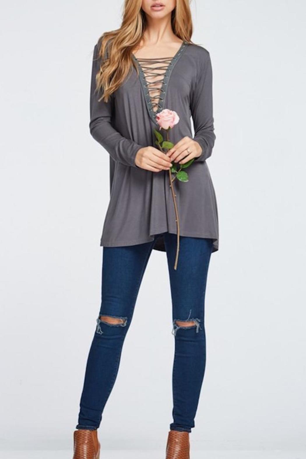 Yipsy Lace Up Top - Front Full Image
