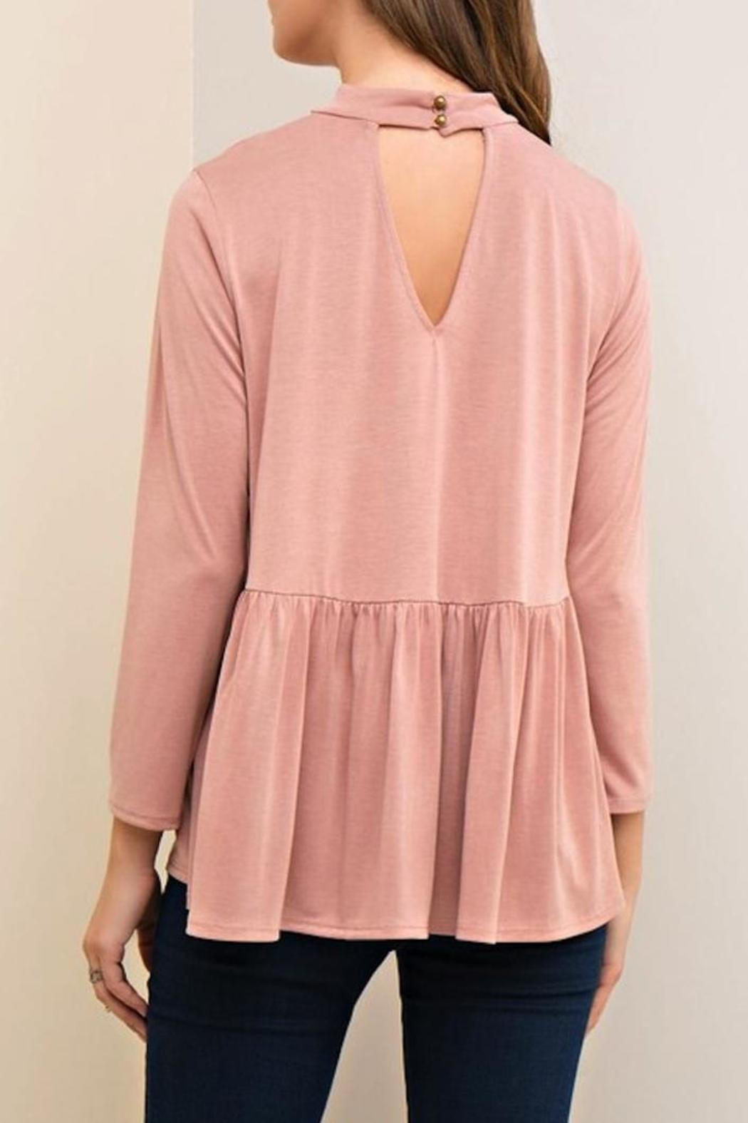 Yipsy Mockneck Peplum Top - Front Full Image