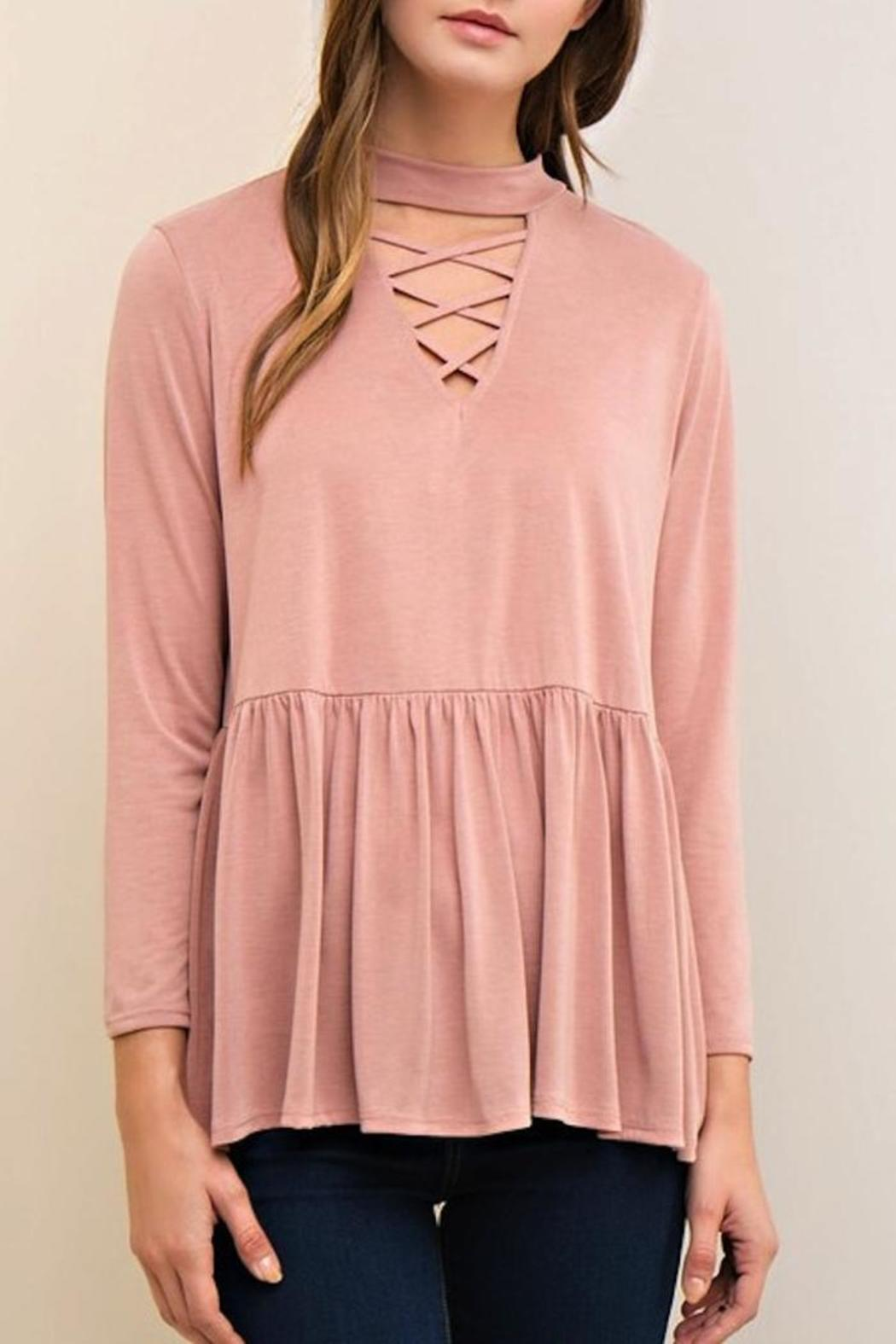 Yipsy Mockneck Peplum Top - Front Cropped Image