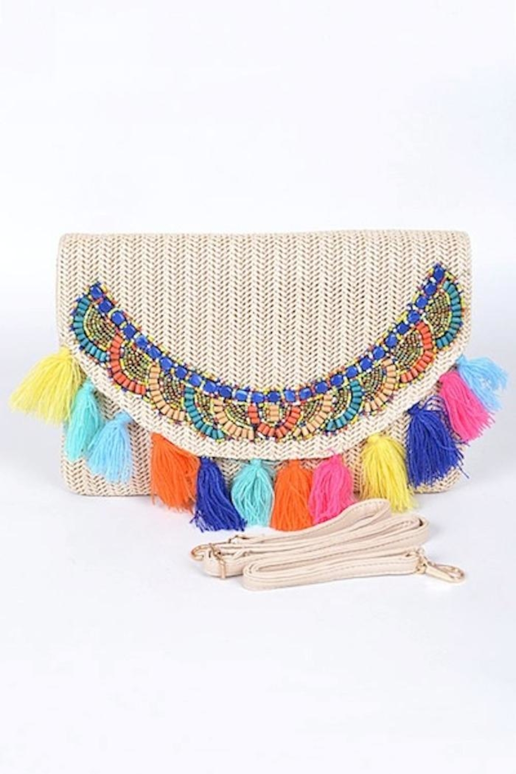 Yipsy Straw Tassel Clutch - Front Cropped Image