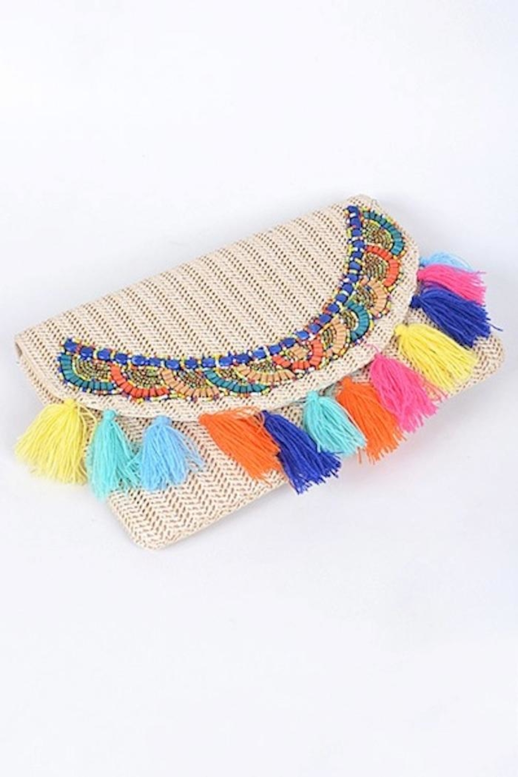Yipsy Straw Tassel Clutch - Front Full Image