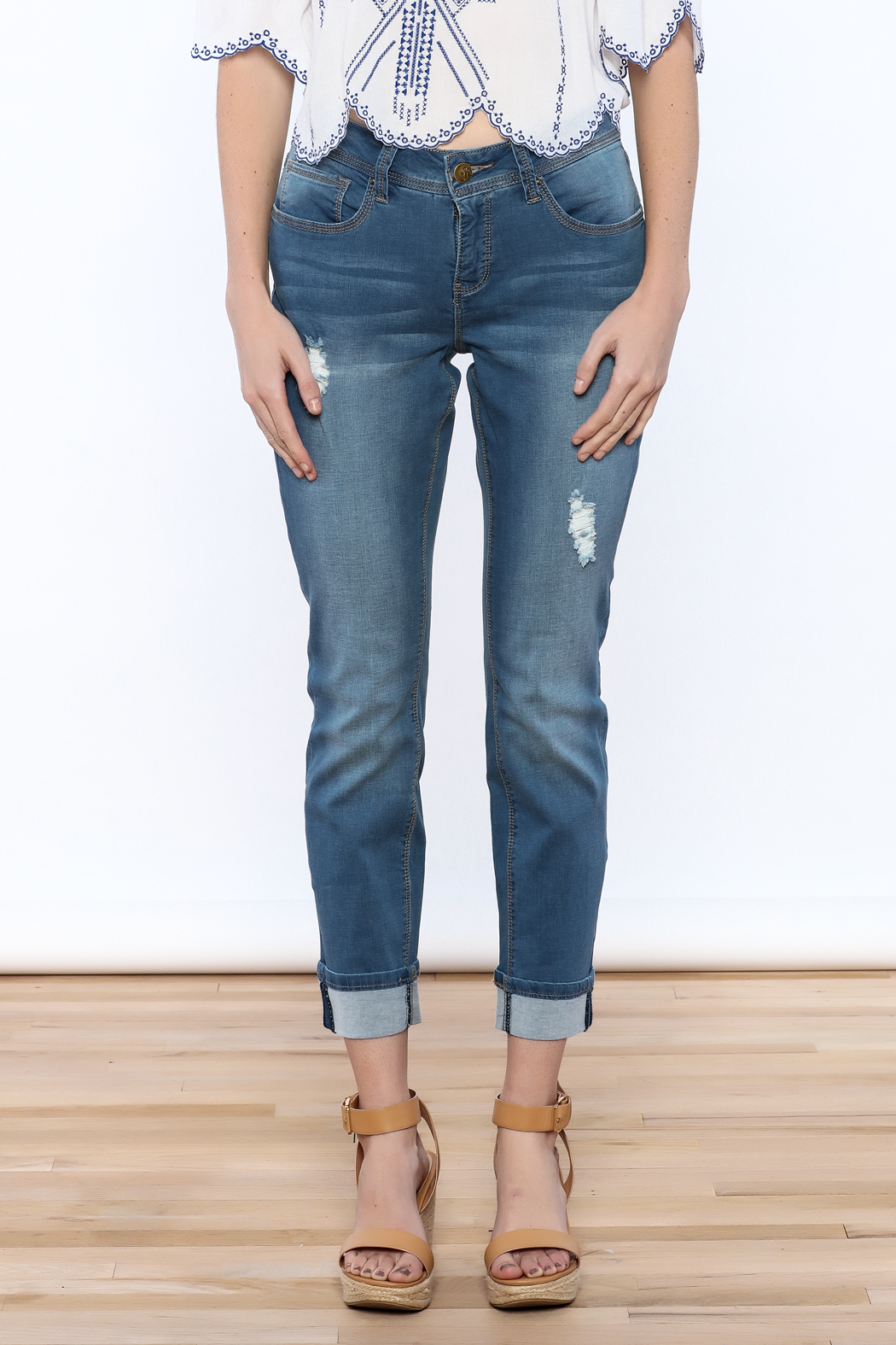 YMI Distressed Cuffed Jeans - Side Cropped Image