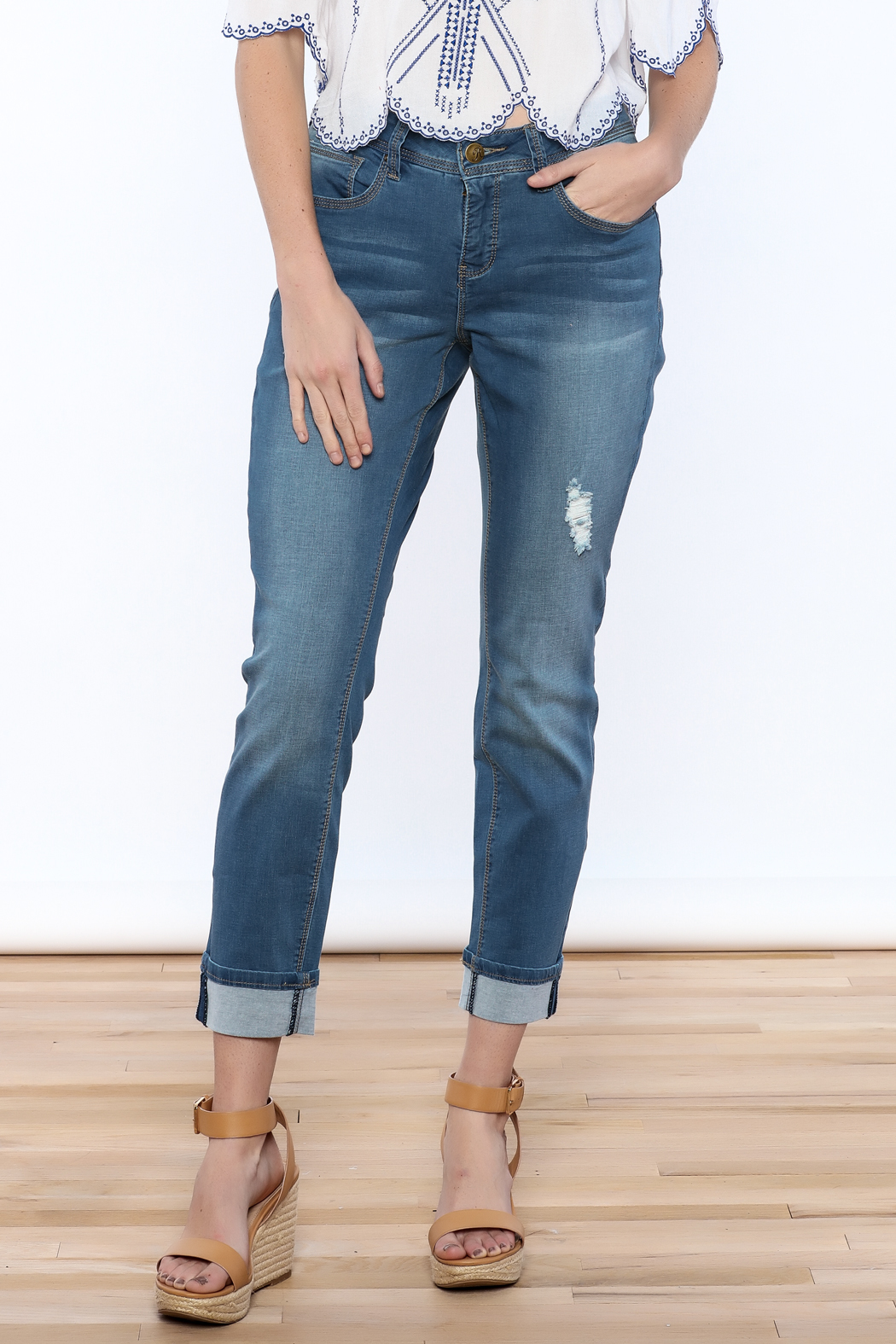 YMI Distressed Cuffed Jeans - Main Image