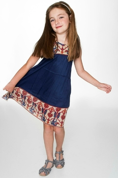 YO BABY Girls Indigo-Blue-Floral-Accent Dress - Product List Image
