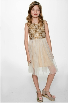 YO BABY Snowflake-On-Gold Tulle Dress - Alternate List Image