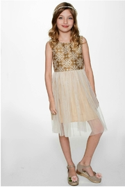 YO BABY Snowflake-On-Gold Tulle Dress - Front cropped