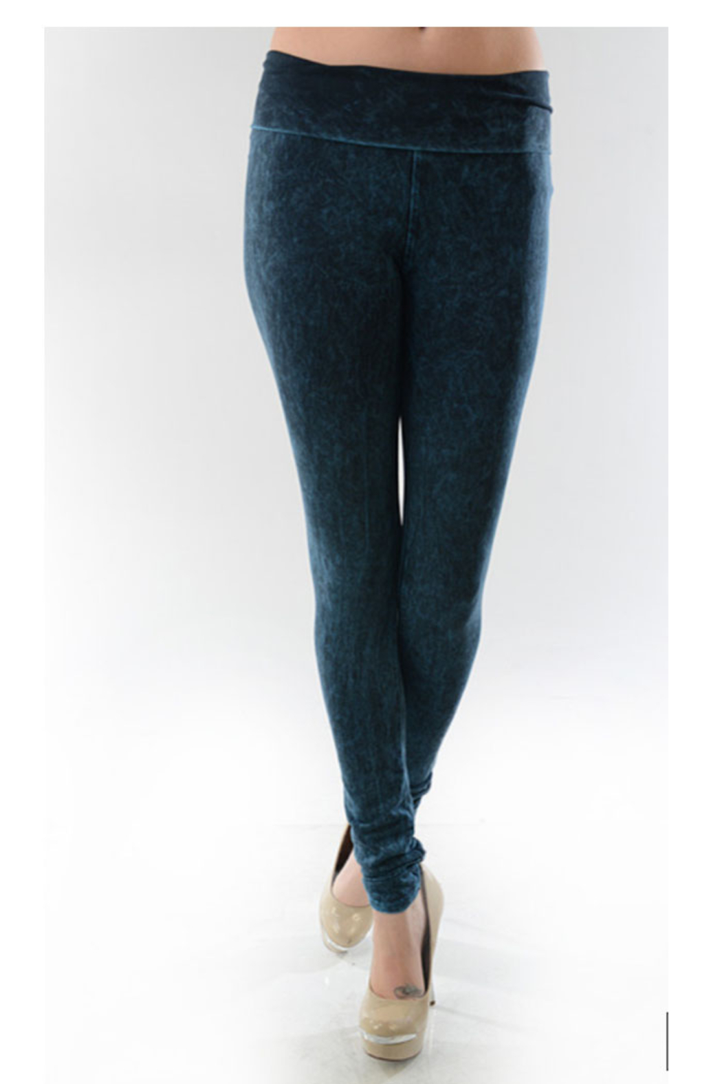 T-Party  Yoga Leggins Mineral Wash Dye Pants - Front Cropped Image