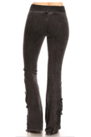 T Party Yoga Pants with Lace Inserts - Front full body