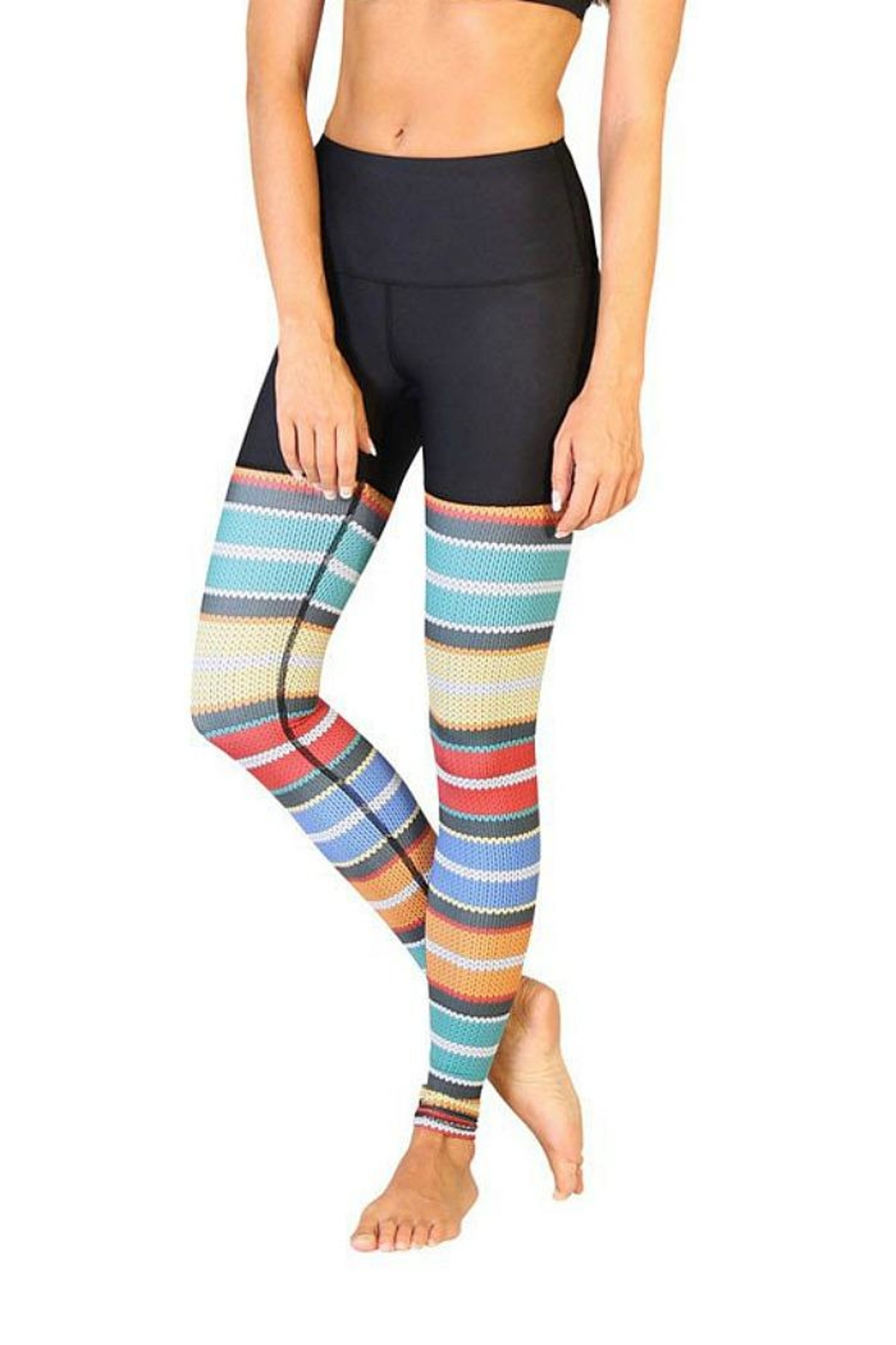 Yoga Democracy Cable Knit Leggings - Front Cropped Image