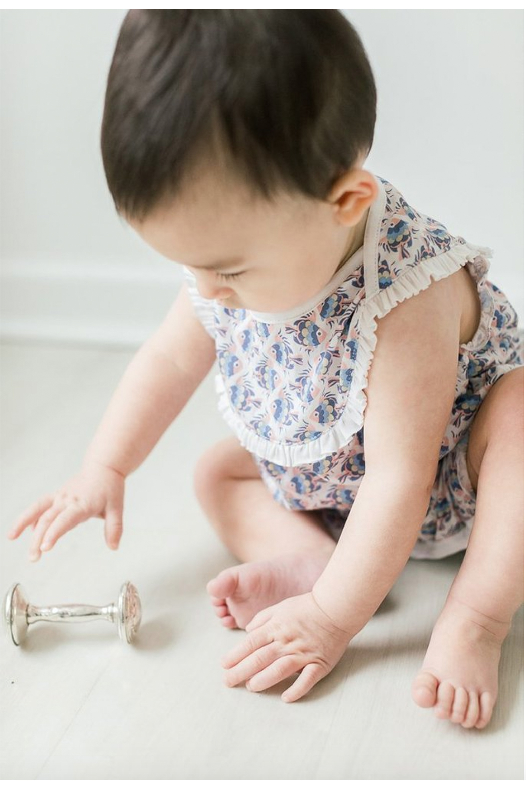 Feather Baby Yoke Romper - Front Full Image