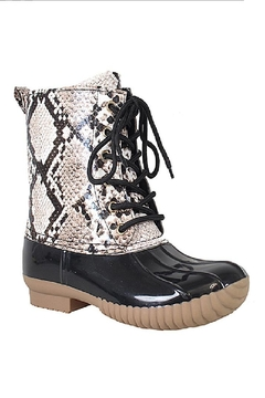 Shoptiques Product:  Dylan White Snake Rain Duck Boot