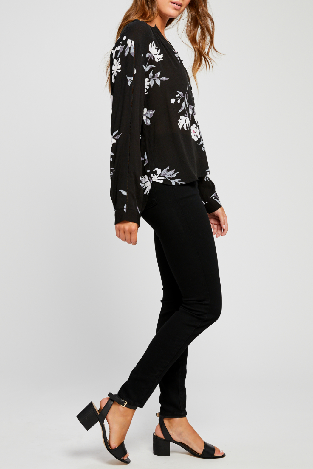 Gentle Fawn Yolanda Floral Half Button Down Blouse - Front Full Image