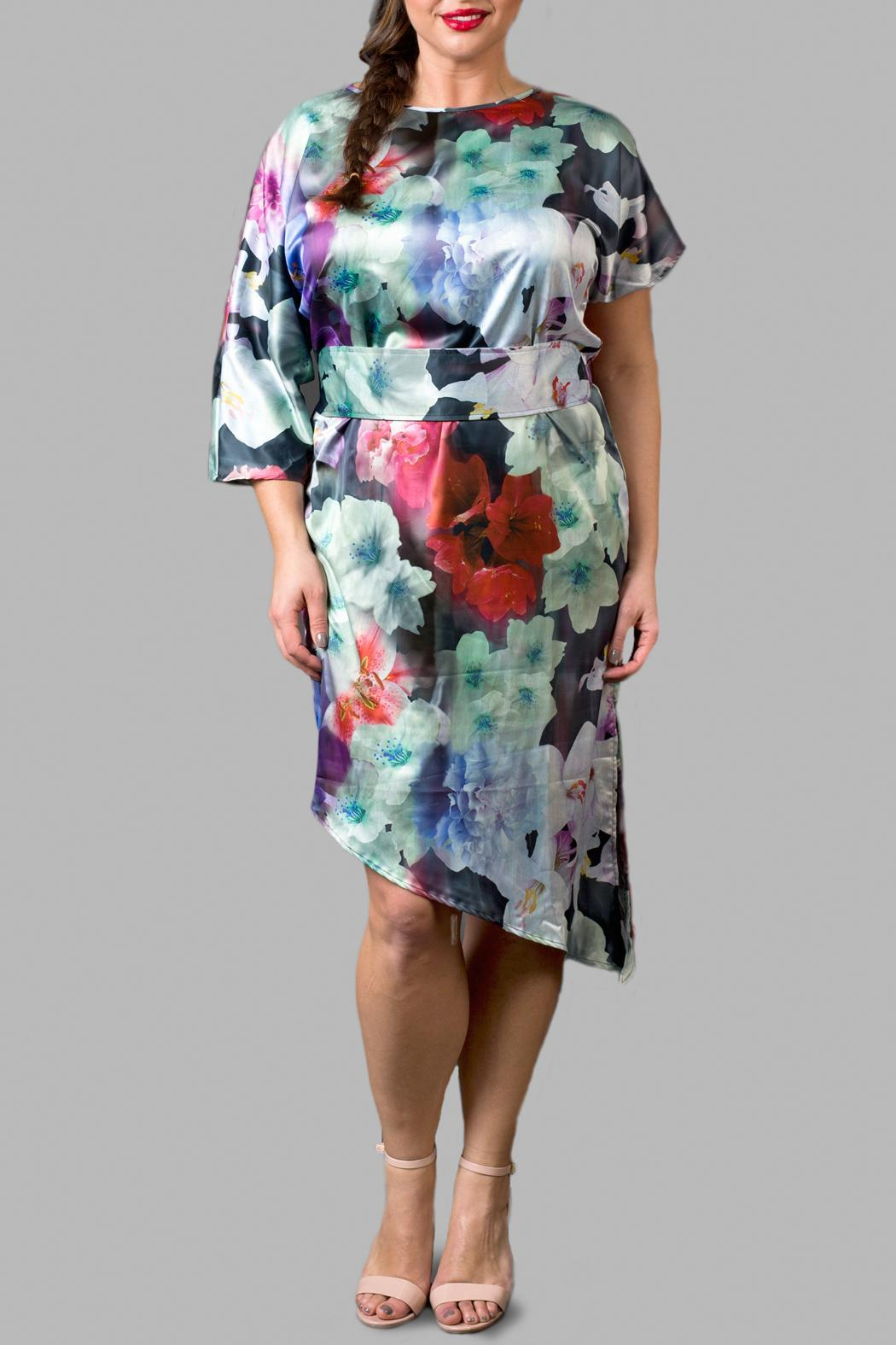 Love By Yona Asymmetrical Floral Blue Dress - Main Image