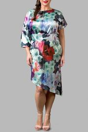 Yona New York Asymmetrical Floral Blue Dress - Product Mini Image