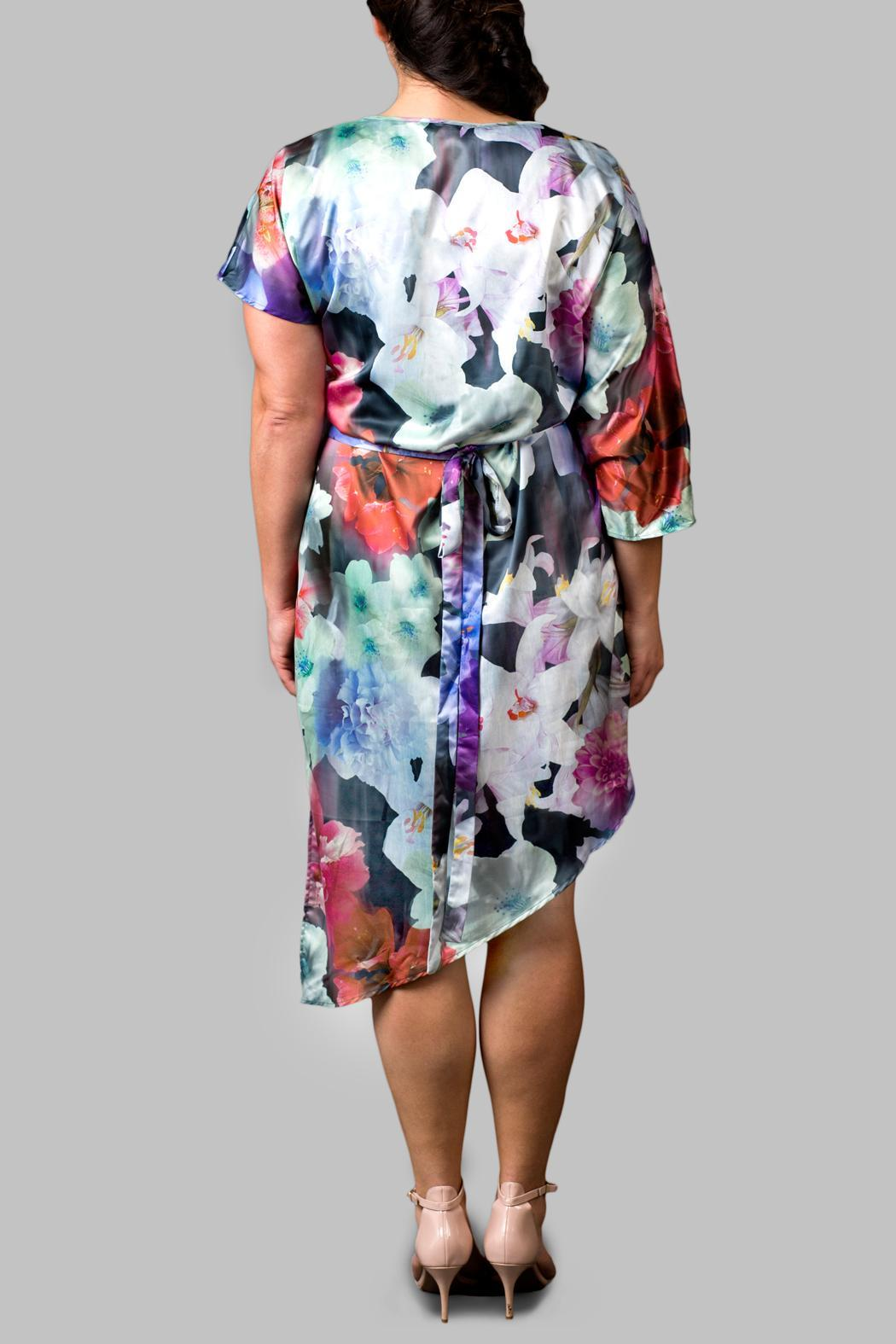 Love By Yona Asymmetrical Floral Blue Dress - Side Cropped Image