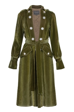 Shoptiques Product: Daya Trench Coat / Green Taupe Silk Velvet