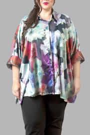 Love By Yona Floral Charmeuse Blue Top - Front cropped
