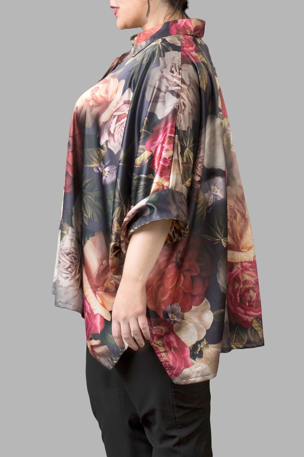 Yona New York Floral Charmeuse Green Top - Front Full Image