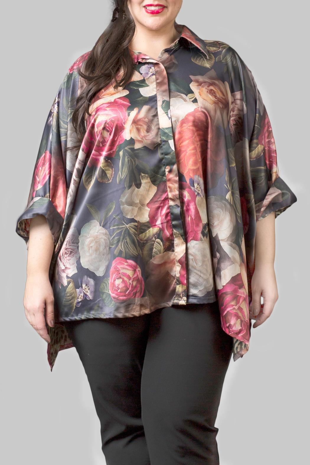 Yona New York Floral Charmeuse Green Top - Front Cropped Image