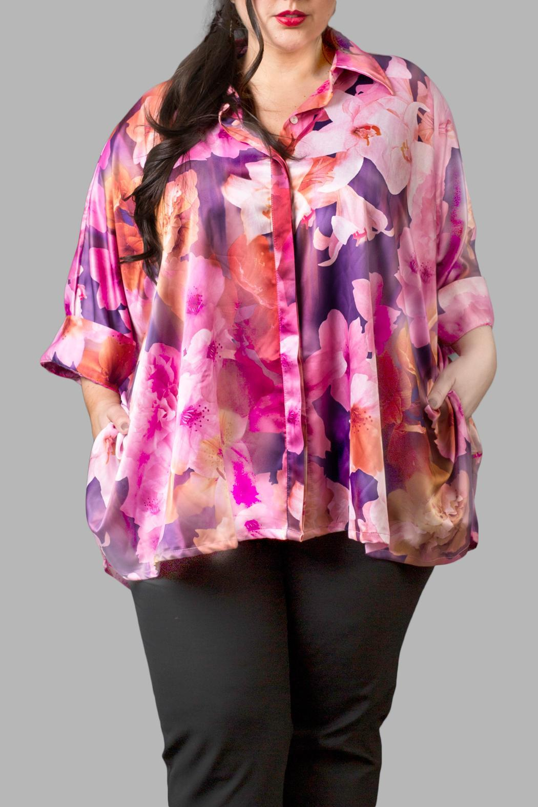 Yona New York Floral Charmeuse Pink Top - Main Image