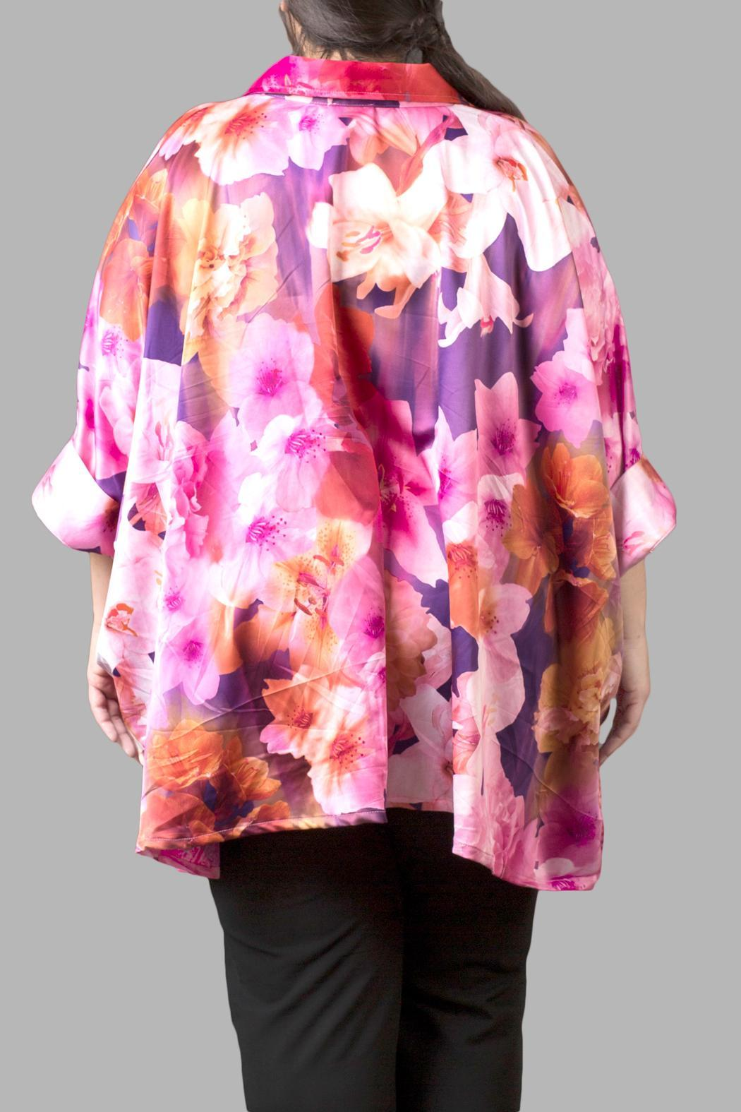 Yona New York Floral Charmeuse Pink Top - Front Full Image