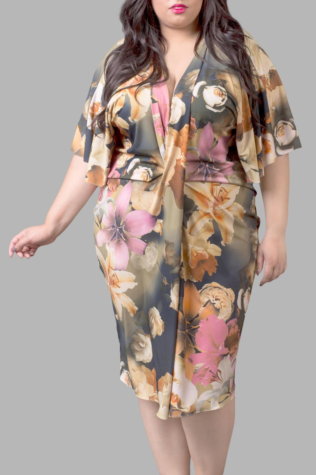 Yona New York Floral Kimono Dress - Front Cropped Image