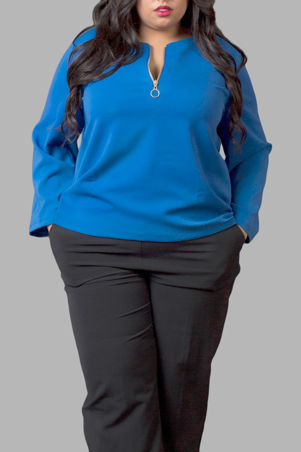 Yona New York Blue Long Sleeve Top - Front Cropped Image