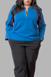 Yona New York Blue Long Sleeve Top - Product Mini Image