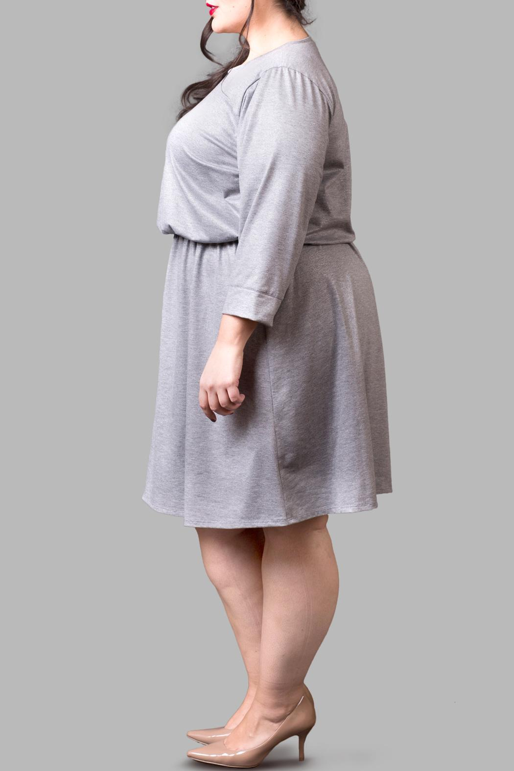 Love By Yona Jersey Grey Sparkle Dress - Front Full Image