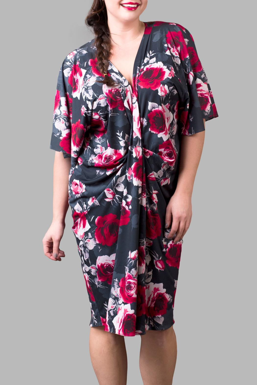 Yona New York Black Red Rose Kimono - Front Cropped Image