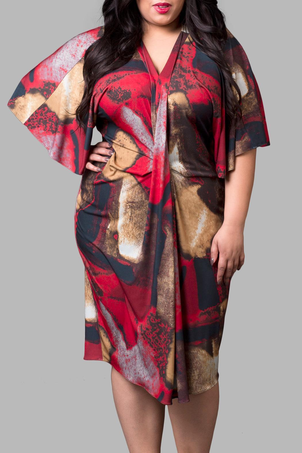 Yona New York Red Gold Kimono - Front Cropped Image