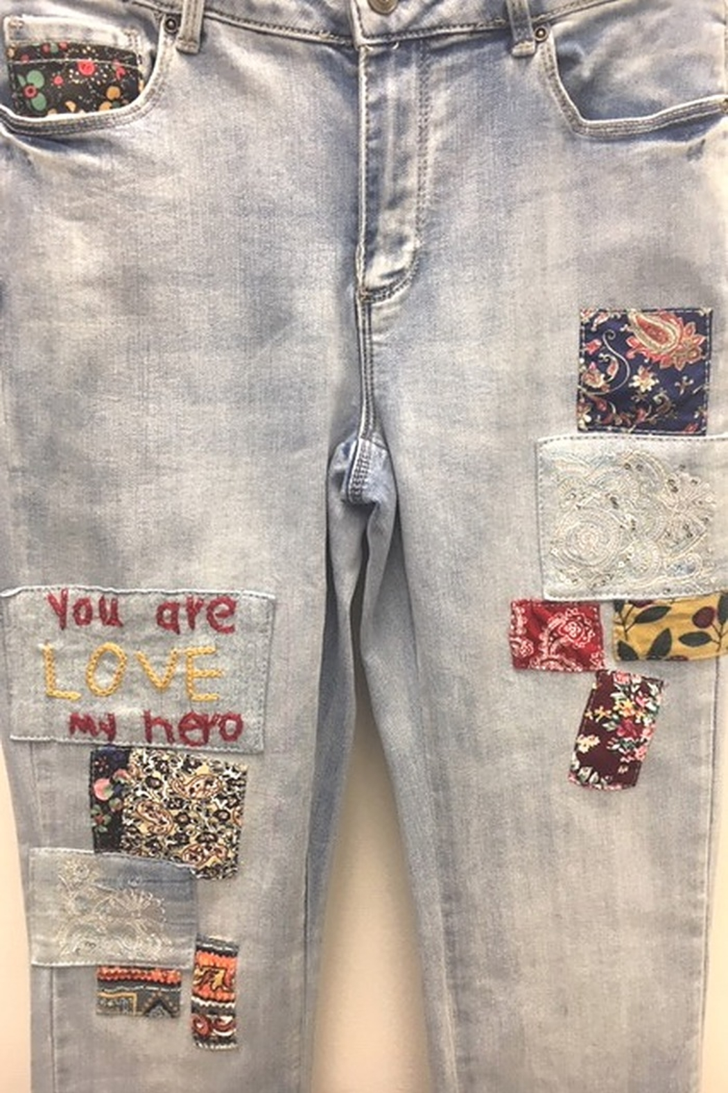 Charlie B You Are My Hero Jeans - Side Cropped Image