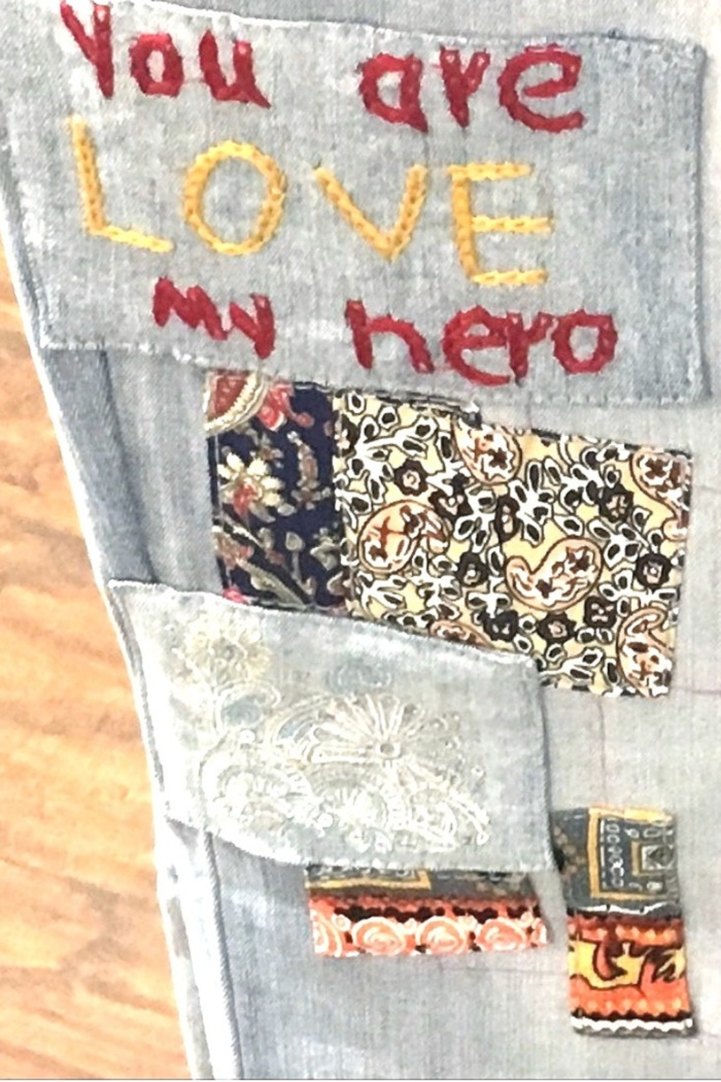 Charlie B You Are My Hero Jeans - Back Cropped Image