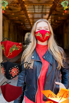 Young Threads Best Seller Holiday Emb Mask, Embroidered Mask, Cotton Lining, Handcrafted Mask, 3layered Face Mask, Nose Pin, Ear Loops- Pack Of 3 - Product List Image