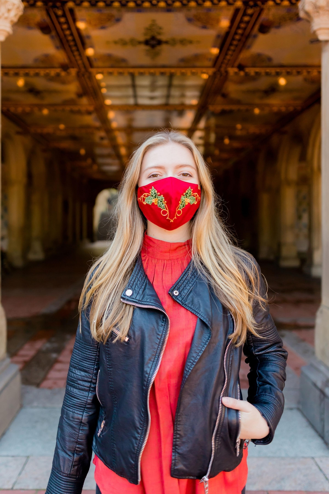 Young Threads Best Seller Holiday Emb Mask, Embroidered Mask, Cotton Lining, Handcrafted Mask, 3layered Face Mask, Nose Pin, Ear Loops- Pack Of 3 - Back Cropped Image