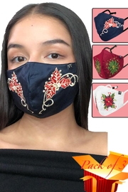 Young Threads Best Seller Holiday Emb Mask, Embroidered Mask, Cotton Lining, Handcrafted Mask, 3layered Face Mask, Nose Pin, Ear Loops- Pack Of 3 - Product Mini Image