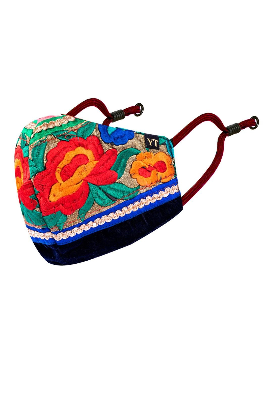 Young Threads Best Seller Silk Embroidered Masks, Holiday Face Mask, 100% Cotton Lining ,Handcrafted Mask, 3layered Face Mask, Nose Pin - Side Cropped Image