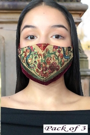 Young Threads Best Seller Silk Embroidered Masks, Holiday Face Mask, 100% Cotton Lining ,Handcrafted Mask, 3layered Face Mask, Nose Pin - Product Mini Image