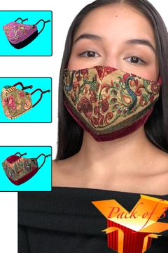 Young Threads Best Seller Silk Embroidered Masks, Holiday Face Mask, 100% Cotton Lining ,Handcrafted Mask, 3layered Face Mask, Nose Pin - Product List Image