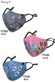 Young Threads Blooming Denim Embroidered Face Masks - Pack Of 3 - Product Mini Image