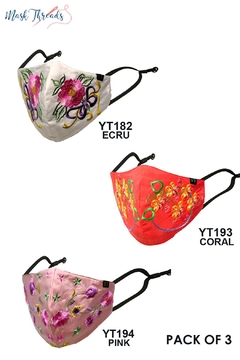 Young Threads Easter Spring Themed Embroidered Face Mask For Women Pack Of 3 Cotton Lining Handcrafted Mask 3layered Face Mask With Nose Wire Ear Loops - Product List Image
