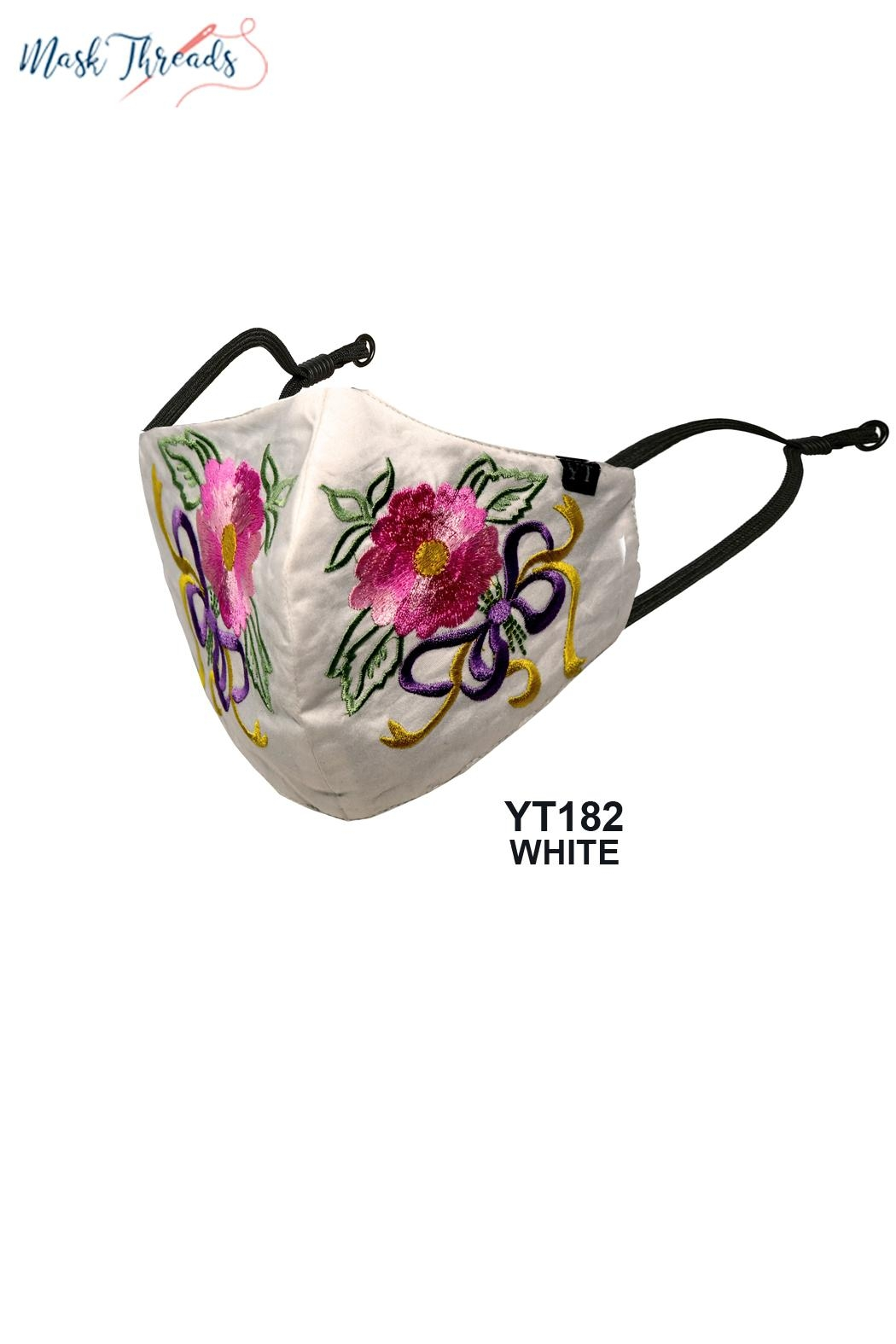 Young Threads Easter Spring Themed Embroidered Face Mask For Women Pack Of 3 Cotton Lining Handcrafted Mask 3layered Face Mask With Nose Wire Ear Loops - Front Full Image