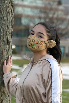 Young Threads Embroidered Earmuffs, Warm Face Mask, Outdoor Activities, Ear Warmers, 100% Cotton Lining, 3 Layered , Adjustable Ear Loops - Product List Image
