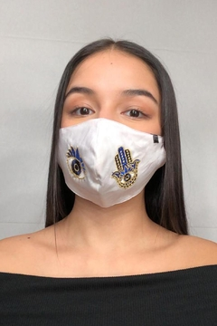 Young Threads Best Seller Evil Eye Cotton Face Mask, Embroidered Face Mask, 3 Pack, Perfect Hanukkah Gift, Adjustable Ear Loops, Reusable, Comes In Pack Of 3 - Alternate List Image