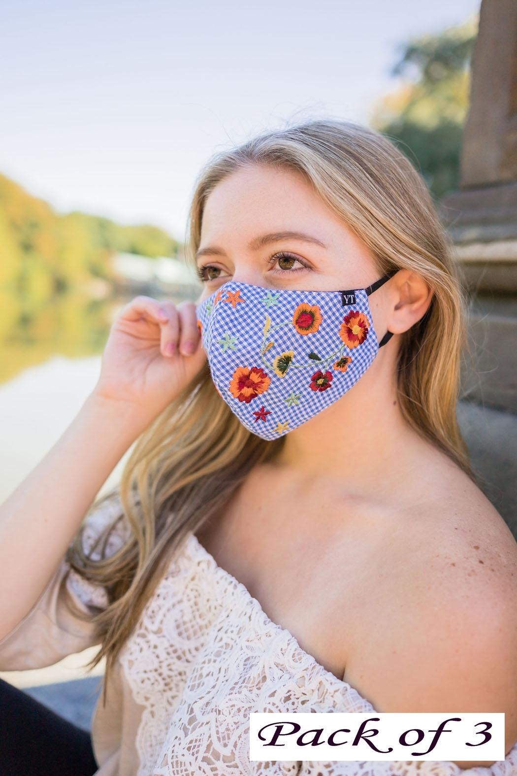Young Threads Floral Embroidered Mask, 3layered, Nose Pin, Adjustable Ear Loops- Pack Of 3 - Main Image