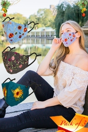 Young Threads Floral Embroidered Mask, 3layered, Nose Pin, Adjustable Ear Loops- Pack Of 3 - Front cropped