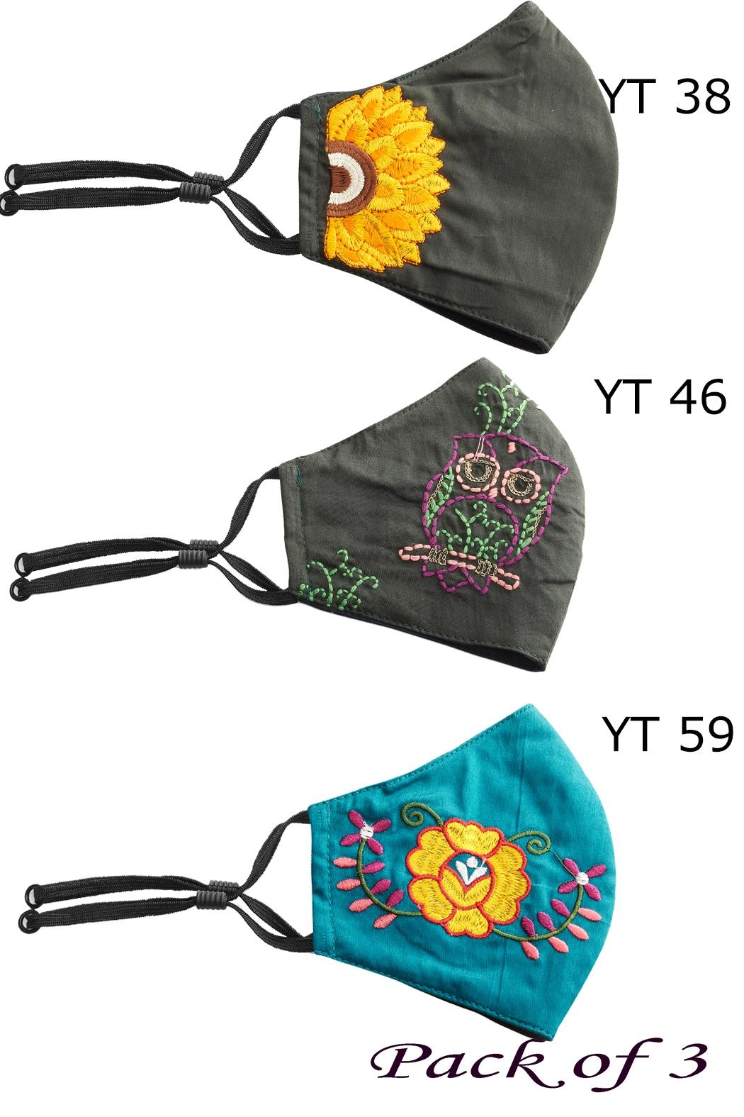Young Threads Floral Embroidered Mask, 3layered Face Mask  Pin-Pack Of 3 - Front Full Image