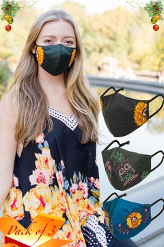 Young Threads Floral Embroidered Mask, 3layered Face Mask  Pin-Pack Of 3 - Product List Image