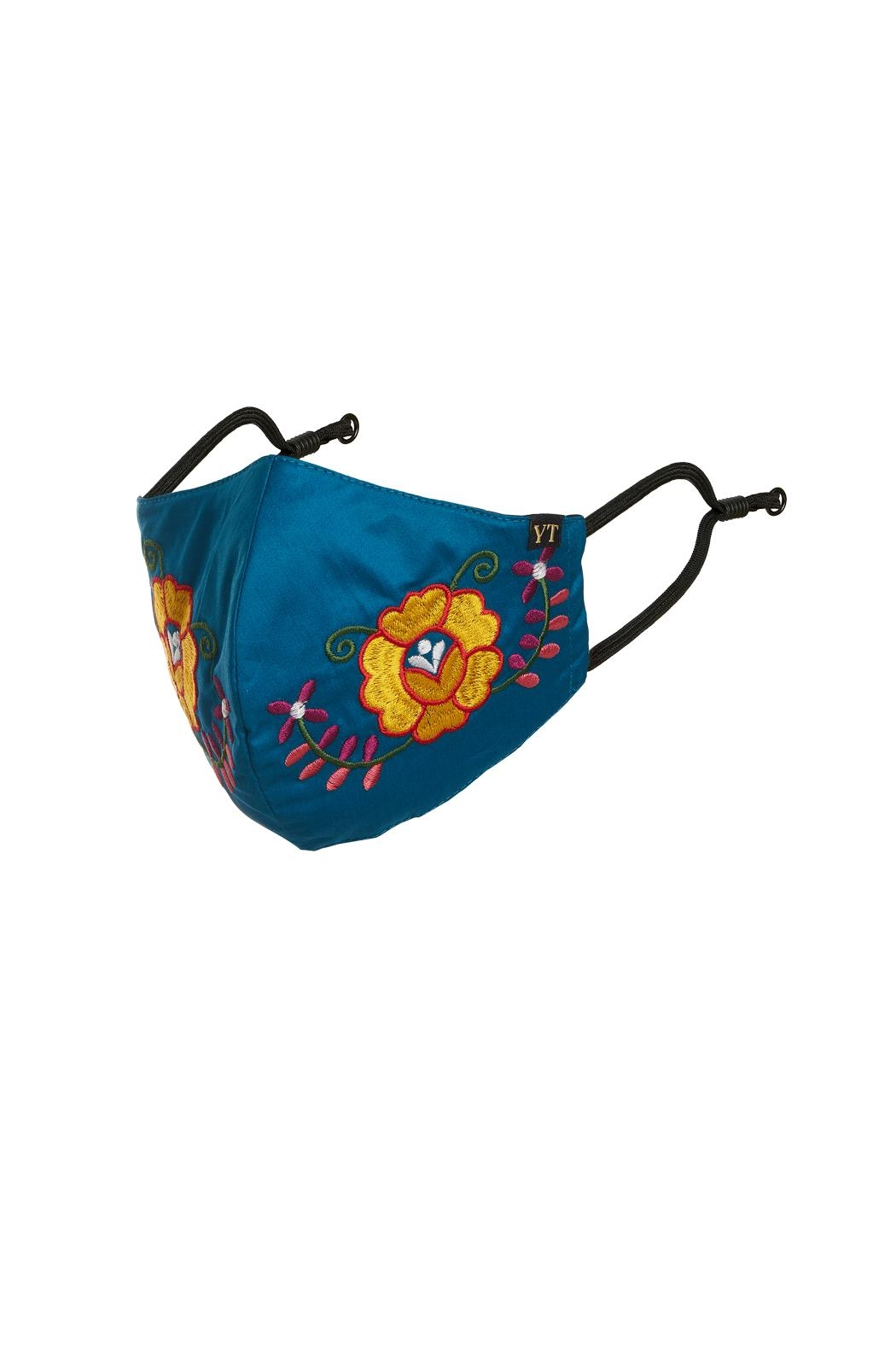 Young Threads Floral Embroidered Mask, 3layered Face Mask  Pin-Pack Of 3 - Side Cropped Image