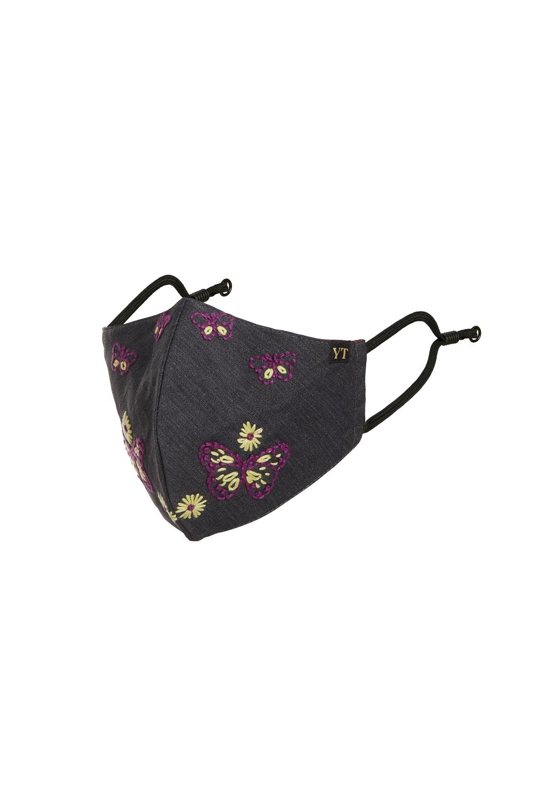 Young Threads Floral Embroidered Mask, 3layered, 100% Cotton Lining Pack Of 3 - Back Cropped Image